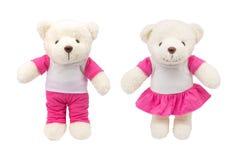 在白色背景的逗人喜爱的玩具熊玩偶和设计的白色制服或投入您的照片 免版税库存图片