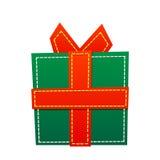 在白色背景的逗人喜爱的简单的动画片绿色礼物 库存照片