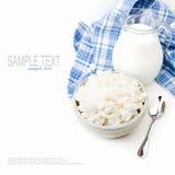 酸奶干酪和牛奶 免版税库存照片
