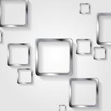 在白色背景的金属正方形 免版税库存照片