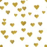 在白色背景的金心脏 无缝的模式 库存例证