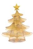 在白色背景的金黄圣诞节杉树装饰 库存图片