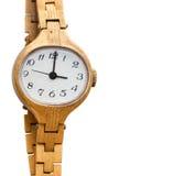 在白色背景的金黄手表 库存照片