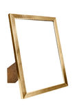 在白色背景的金黄铝空的照片框架 图库摄影