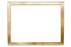 在白色背景的金黄铝空的照片框架 库存照片