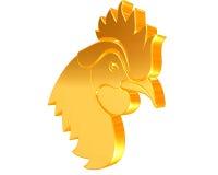 在白色背景的金黄雄鸡 库存图片