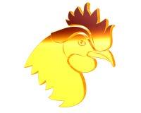 在白色背景的金黄雄鸡 免版税库存图片