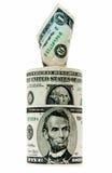 在白色背景的钞票美元 库存照片