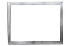 在白色背景的铝空的照片框架 免版税库存图片