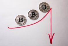 在白色背景的银币bitcoin 免版税库存照片