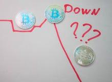 在白色背景的银币bitcoin 库存照片