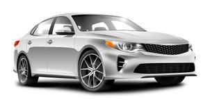 在白色背景的银色普通轿车汽车 库存图片