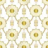在白色背景的阿拉伯金黄豪华无缝的样式 皇族释放例证