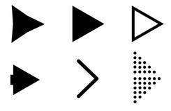 在白色背景的集合黑箭头象 黑箭头标志 库存例证