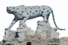 在白色背景的雕塑猎豹 免版税库存照片