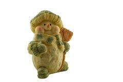在白色背景的雕塑雪人 免版税库存照片
