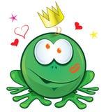 在白色背景的青蛙动画片 库存照片