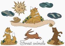 在白色背景的风格化野生森林动物 Fox,野兔,一头土气熊 库存例证