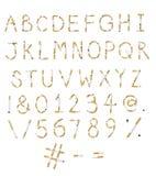 香烟字母表和数字 免版税库存图片