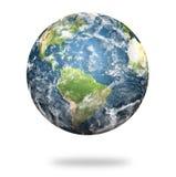 在白色背景的高分辨率行星地球 免版税图库摄影