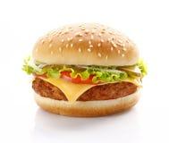 在白色背景的鲜美新鲜的乳酪汉堡 免版税库存图片