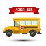 在白色背景的黄色学校班车传染媒介IconIsolated 免版税库存照片