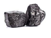 在白色背景的黑沥青煤 免版税库存图片