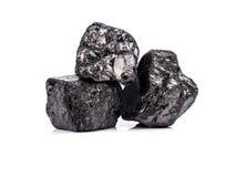 在白色背景的黑沥青煤 免版税库存照片
