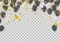 在白色背景的黑白透明氦气气球 飞行乳汁轻快优雅 库存例证