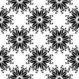 在白色背景的黑花 装饰无缝的模式 免版税图库摄影