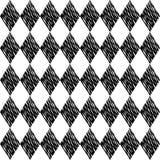 在白色背景的黑菱形嵌石装饰 模式无缝的表面 跨过的线墙纸 栅格主题 数字式 免版税库存图片