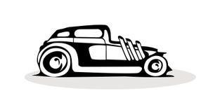 在白色背景的黑减速火箭的汽车商标 向量例证