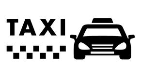 在白色背景的黑出租汽车汽车 免版税库存照片