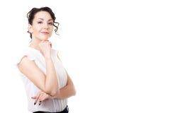 在白色背景的年轻办公室妇女企业画象 免版税图库摄影