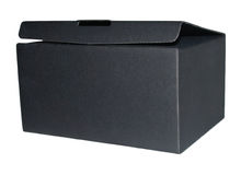 在白色背景的黑匣子 免版税图库摄影