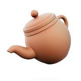在白色背景的黏土茶壶 3d回报image.colorful圆筒 免版税图库摄影