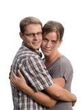 在白色背景的年轻夫妇 库存图片