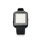 在白色背景的黑巧妙的手表 免版税库存照片