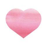 在白色背景的水彩心脏 免版税库存照片