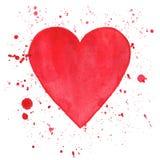 在白色背景的水彩心脏 免版税库存图片