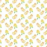 在白色背景的水彩样式玫瑰和蝴蝶无缝的设计 免版税库存图片
