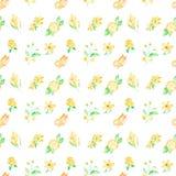 在白色背景的水彩样式蝴蝶、花和果子无缝的设计 免版税库存图片