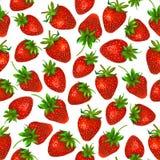在白色背景的水彩草莓 无缝的模式 库存照片