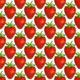 在白色背景的水彩草莓 无缝的模式 免版税库存图片
