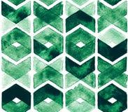 在白色背景的水彩V形臂章绿色 织品的抽象无缝的样式 茂盛的牧场 免版税图库摄影