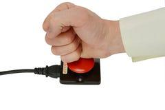 在白色背景的紧急按钮 免版税图库摄影