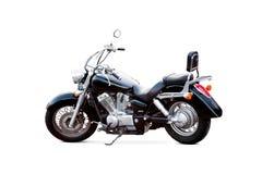 在白色背景的黑摩托车 图库摄影