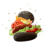 在白色背景的黑汉堡 库存图片