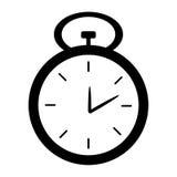 在白色背景的黑白时钟 免版税库存图片