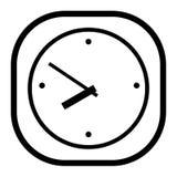 在白色背景的黑白时钟 免版税图库摄影